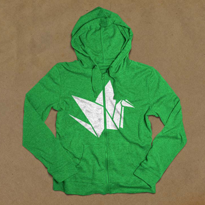 green sweatshirt with our bird logo